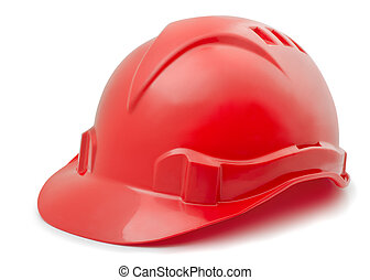 Red plastic hard hat isolated on white