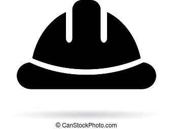 Hard hat silhouette vector icon isolated on white background