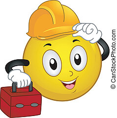 Illustration of a Smiley Wearing a Hard Hat and Carrying a Tool Kit