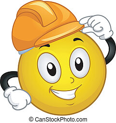 Illustration of a Smiley Wearing a Hard Hat