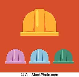 Hard hat vector flat sign icon set