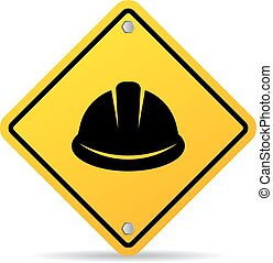 Hard hat vector sign isolated on white background
