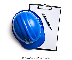 hard hat with clipboard
