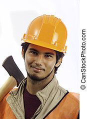 hard hat worker with an axe