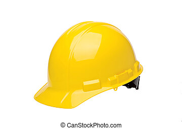 Hard Hat - Yellow hardhat isolated on a white background.