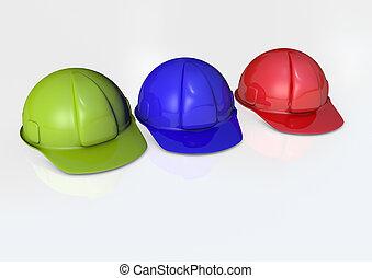 Hard hats 3D render