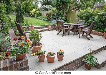 Hard landscaping, new luxury patio and garden, UK