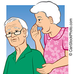 Hard of Hearing - Vector Illustration of an elderly woman...