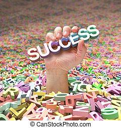 hard, om te, bevinding, succes
