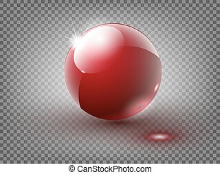 Hard Red Pool Ball Isolated on White Background. Vector illustration. 10 EPS