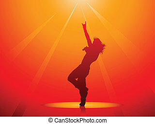 Hard rock singer silhouette on red in vector