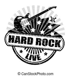 Black grunge rubber stamp with electric guitar and the text hard rock written inside, vector illustration