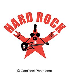 Hard rock star. Star with beard and