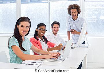hard, s, werken, groep, werkmannen