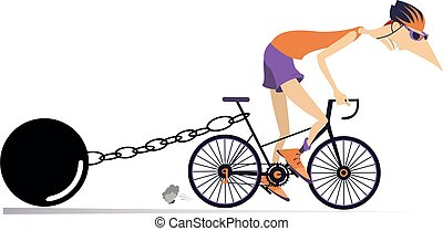 Cyclist drags a heavy weight to be connected by the chain to his bike isolated on white