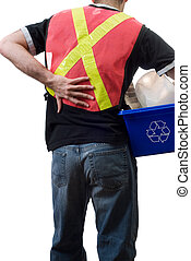 A city worker suffering from a sore back, from picking up blue boxes of recycling