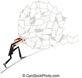 Hard work - Businessman rolls up a big ball of papers