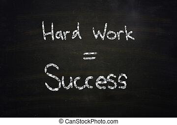 hard work equal success chalk written on blackboard