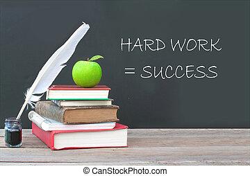 Hard work equals success - Hard work is success written on a...