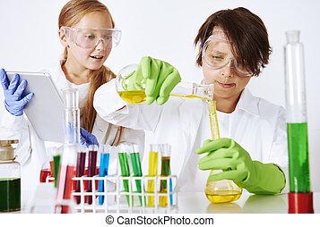 Hard work in chemical laboratory