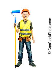 hard work - Boy with helmet and tools. isolated on white.