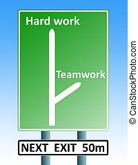 hard work teamwork roadsign