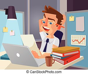 Hard work. Tired office worker character. Vector flat cartoon illustration
