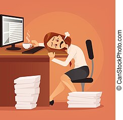 Hard work. Tired unhappy office worker woman character trying to work. Vector flat cartoon illustration