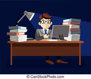 Hard work. Vector flat illustration