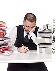 Hard working man in an office
