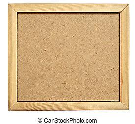 Hardboard in a frame - Hardboard background in a wooden...