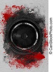 Hardcore Rock Bass Speaker. Cool Grunge Black Bass Speaker...