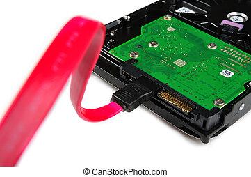 harddisk, conectado, cable