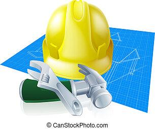 harde hoed, gereedschap, en, bouwschets