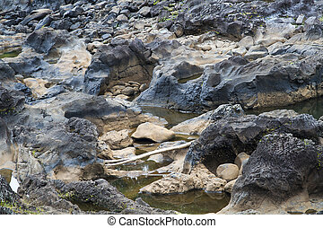 Harden lava creating a river bed