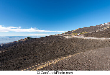 Hardened Lava Flow - Etna Volcano Sicily Italy - Slope with...