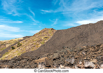 Hardened Lava Flow - Etna Volcano Sicily Italy - Detail of...