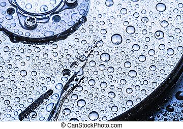 hardeschijf, met, water, droplets