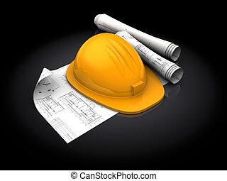hardhat and blueprints