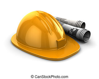 hardhat and blueprints - 3d illustration of hardhat with ...