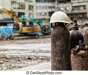 hardhat, cilindro, construção, gás, local