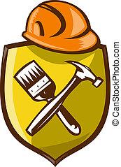 hardhat, construcción, martillo, brocha
