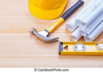 hardhat, construction, outils, ensemble, modèles, marteau griffe, niveau, w
