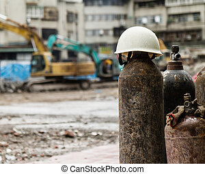 hardhat, cylindre, construction, essence, site