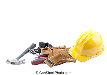 Hardhat, hammer, tool belt and screw driver on a white background