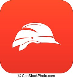 Hardhat icon digital red for any design isolated on white...