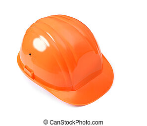 Orange hard hat isolated silhouette with clipping path on white background.
