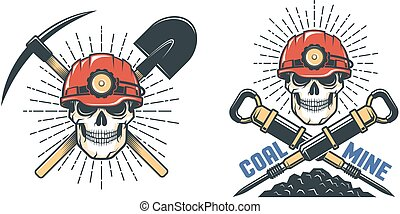 hardhat, pá, mineiro, cranio, pickaxe