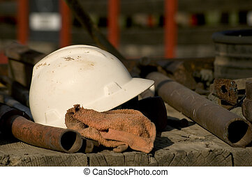 Hardhat - Industrial environment with hardhat on workers...