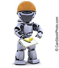 hardhat, portapapeles, robot